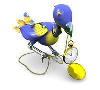 stolen time: mechanical bird with golden clock - stock illustration