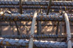 Rebar steel structure macro - stock photo
