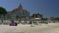 Beach in Seaside Resort Town Kühlungsborn in Mecklenburg - Baltic Sea, Germany Stock Footage