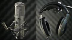 Studio microphone and headphone - montage - stock footage