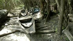 Old boats in the bush willow Stock Footage