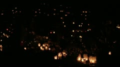 Candles at cemetery graveyard - stock footage