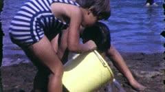 BROTHER SISTER PLAY on Beach 1960 (Vintage Amateur Film Home Movie Footage) 5524 Stock Footage
