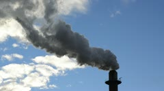 Factory smoke stack pollution - stock footage