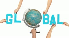 Text for GLOBAL with a spinning globe for the O Stock Footage