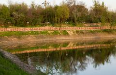 lake in the arboretum, shymkent - stock photo