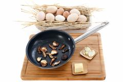 ingredients for mushroom omelette - stock photo
