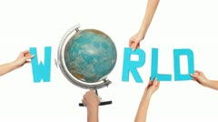 Text for WORLD with a spinning globe for the O Stock Footage