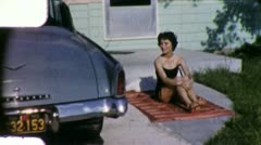 SUNBATHING WOMAN Girl Bikini 1950s (Vintage Film 8mm Retro Home Movie) 5538 - stock footage