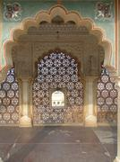 Intricate marble screen in  amber fort, Stock Photos