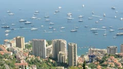 View of Monaco and many yachts in the bay - stock footage