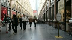 Galeries Royales Saint-Hubert in Brussels, Belgium Stock Footage