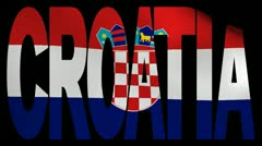 Croatia text with fluttering flag animation Stock Footage