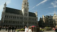 Brussels City Hall at the Grand Place Stock Footage