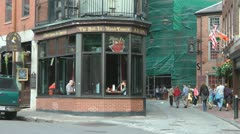 Tourists Walk Past The Bell In Hand Inn Union Street Boston  Stock Footage