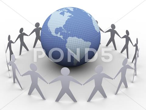 Stock Illustration of paper people around globe