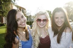 Smiling school friends Stock Photos