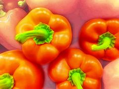 Grouping of Red Peppers Stock Photos