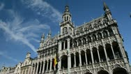 The Maison du Roi or Broodhuis, Grand Place, in Brussels Stock Footage
