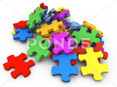 Stock Illustration of 3d heap of puzzle peaces