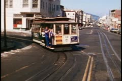 San Francisco, 1970's, Cable Car, making a turn coming toward the camera Stock Footage
