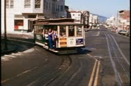 Stock Video Footage of San Francisco, 1970's, Cable Car, making a turn coming toward the camera