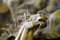 wooden horse whinny, - stock photo