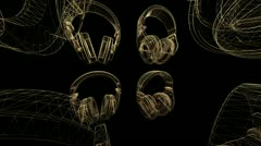 Earphones Turn Gold Alpha Group PAL Stock Footage