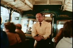 San Francisco, 1970's, Cable Car, Gripman operating the levers and bell Stock Footage