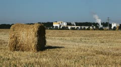 Wheat Field Harvest, Bale of Wheat Straw, Cereal Ballot in Summer Season - stock footage