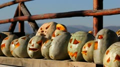 Scarry pumpkins for Halloween party Stock Footage