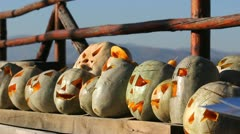 Yellow melons for Halloween Stock Footage