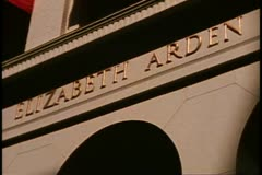 San Francisco, 1970's, Elizabeth Arden, close up of sign and door - stock footage