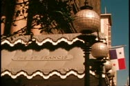 San Francisco, 1970's, St. Francis Hotel, close up of sign and canopy Stock Footage