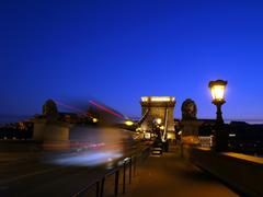 Budapest chain bridge at dawn. Stock Photos