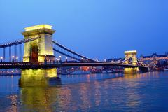 Budapest main bridge Stock Photos