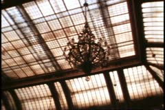 San Francisco, 1970's, Palace Hotel, interior Garden Court, the glass roof Stock Footage
