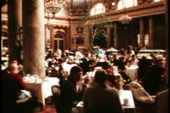 San Francisco, 1970's, Palace Hotel, interior Garden Court, with people Stock Footage