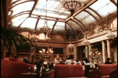 San Francisco, 1970's, Palace Hotel, interior Garden Court, wide shot, people Stock Footage
