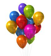 Multi colored balloons group isolated on white Stock Illustration