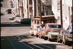 San Francisco, 1970's, Cable Car, making turn approaching camera Stock Footage