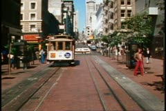 San Francisco, 1970's, Cable Car, POV from front of cable car on Powell Street Stock Footage