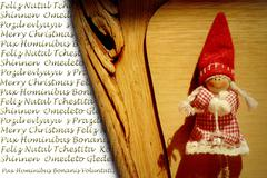 christmas greeting in many languages, elf christmas - stock photo
