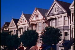 San Francisco, 1970's, Victorian houses of Alamo Square - stock footage