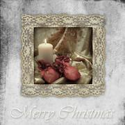 Old card christmas candle and gifts Stock Photos
