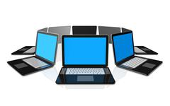 Stock Illustration of black laptop computers isolated on white