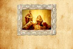 Old christmas card, holy family Stock Photos