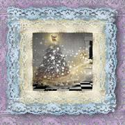 old lace picture, christmas card - stock photo