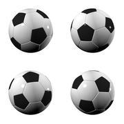 four soccer balls - stock illustration