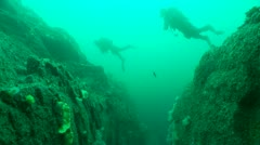 Divers swim over gully AS010153 01 Stock Footage